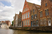 Flemish style houses canal street — Stock Photo