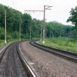 Forest railway turning right — Stock Photo #2580532