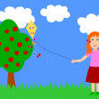 Autumn illustration - kite-flying - Stock Photo