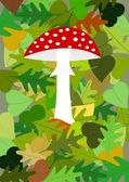 Autumn theme - red amanita in foliage — Stock Photo