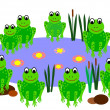 Frogs at a pond — Stock Photo