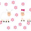 Lambs and flowers — Stock Photo