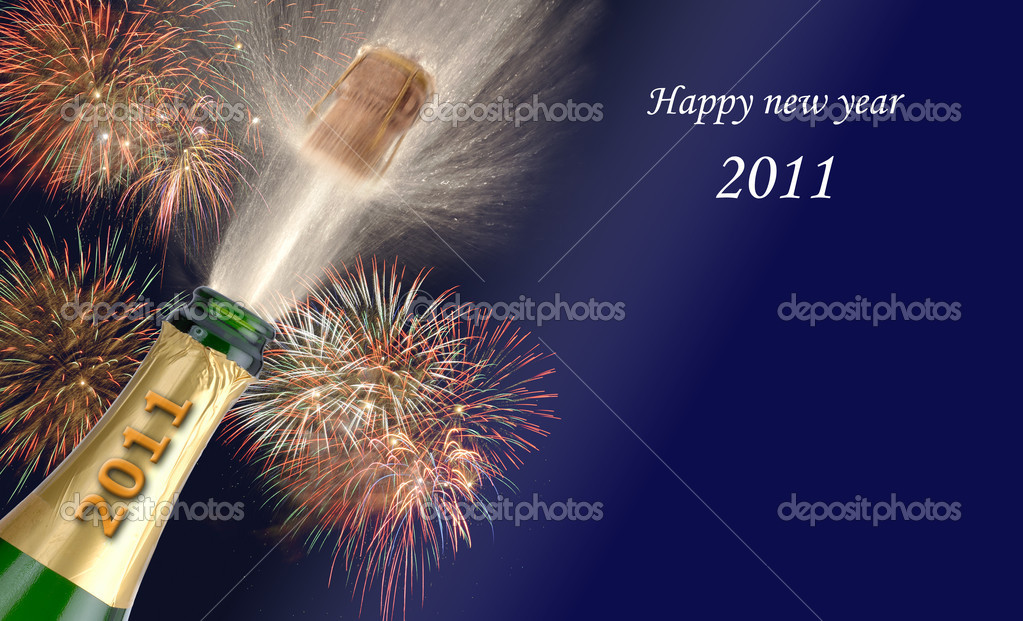 Bottle champagne and firework at new year 2011   Stok fotoraf #2186254