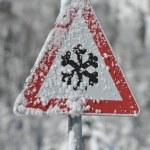 冬の警告サイン — 图库照片