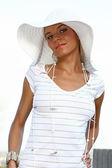 Beautiful summer girl in white dress — Stock Photo