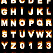Alphabet and numbers with flame effect — Stock Photo
