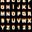 Stock Photo: Alphabet and numbers with flame effect
