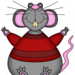 Bright illustration of a cartoon rat — Stock Photo