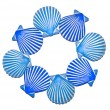 Blue Clam-Shell Circle Pattern — Stockfoto