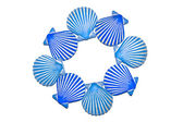 Blue Clam-Shell Circle Pattern — Stock Photo