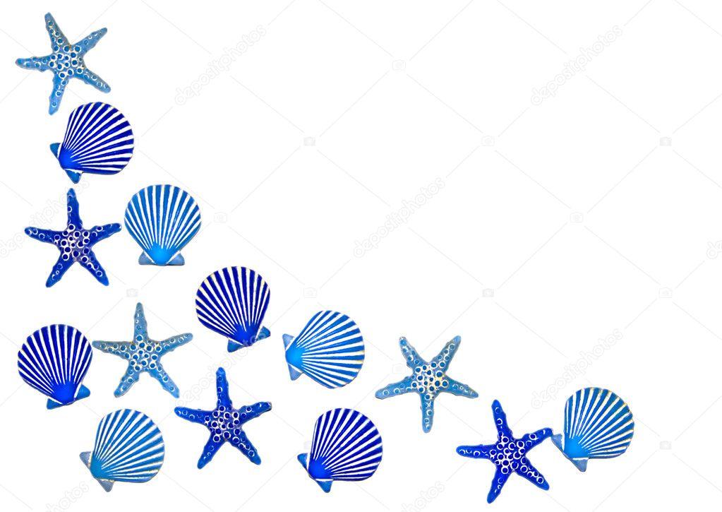 蓝色的大海壳边框 - 图库图片