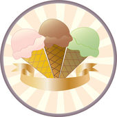 Three Ice Cream Cone Button — Stock Vector
