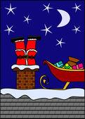 Santa stuck down the chimney — Stock Vector