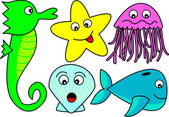 Cute Cartoon Sea Creatures — Stock Vector