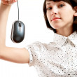 Computer mouse hunted by young woman — Stock Photo