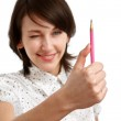 Measuring with a pencil — Stock Photo
