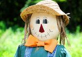 Smiling fall scarecrow face — Stock Photo