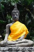 Buddha statues with orange bands — Stock Photo