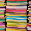 Stock Photo: Coloured fabrics at market