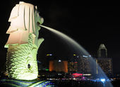 La statua merlion a singapore — Foto Stock