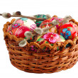 Stock Photo: Basket with hand painted easter eggs