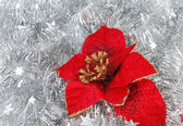 Christmas decorations on tinsel — Stock Photo