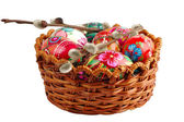 Basket with hand painted easter eggs — Stock Photo