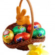 Easter basket with rabbit and daffodils — Stock Photo