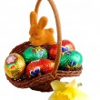 Stock Photo: Easter basket with rabbit and daffodils