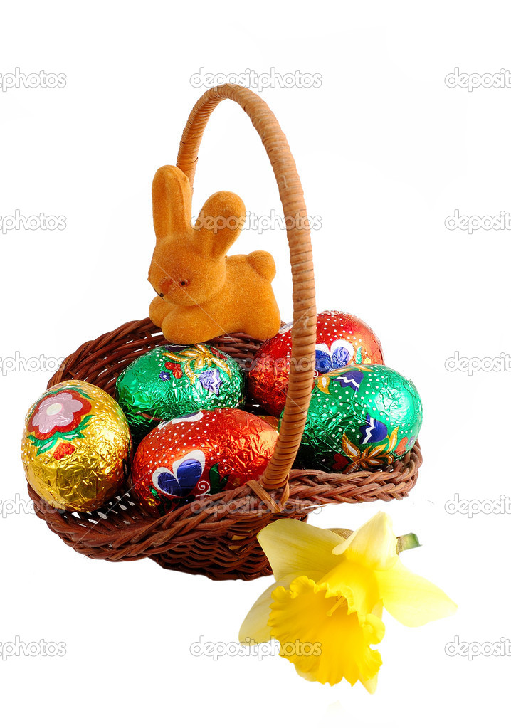Easter Basket Bunny On White Background Stockfoto
