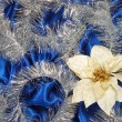 Foto Stock: Blue sateen decoration