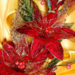 Stock Photo: Christmas decoration on golden sateen