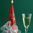 Wine with candle decoration — Stock Photo