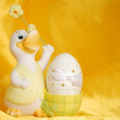 Easter egg and duck — Stock Photo