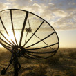 Satellite TV antenna in morning dew - Foto Stock
