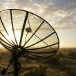 Satellite TV antenna in morning dew - Stock Photo