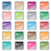 Square web buttons in assorted colors — Stock Vector