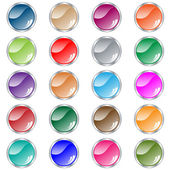 Round web buttons set in assorted colors — Stock Vector