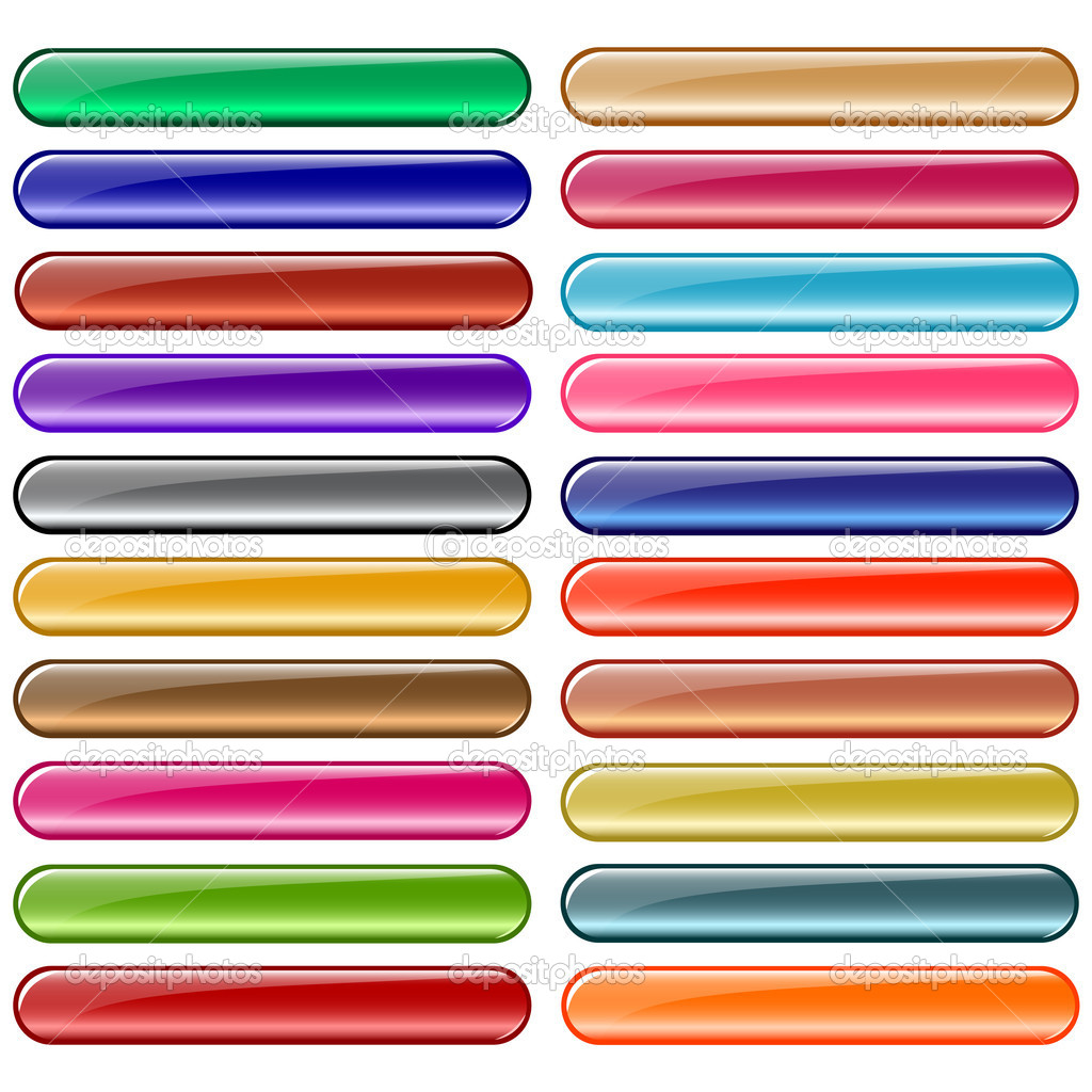 Web buttons in shiny assorted colors. Isolated on white.  Stock Vector #2225833