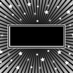 サンバースト背景の星と黒 — ストックベクタ