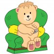 Bear Sat in Armchair Cartoon — Stock Vector