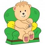 siedział w fotel kreskówka niedźwiedź — Wektor stockowy  #2304155