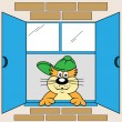 Cartoon Cat at Window — Stok Vektör