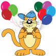 Постер, плакат: Cartoon Cat with Balloons