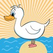 Duck out of Water Cartoon Character - Stock Vector