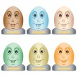 Easter egg heads on a base — Stock Vector