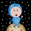 Royalty-Free Stock Vector Image: Happy Alien in Outer Space
