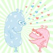 Monster Love Cartoon Characters — Imagen vectorial