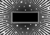 Sunburst Background Black with Stars — Stock Vector