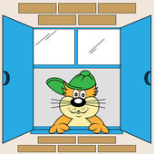 Cartoon Cat at Window — Stock Vector